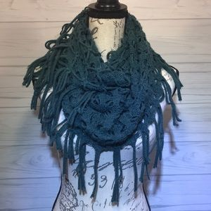 Teal Soft Loose Knit Tassel Scarf